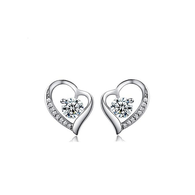 4f417eeb5d710 Love Heart-shaped Trendy Simple White 925 Sterling Silver Stud Earrings  Women