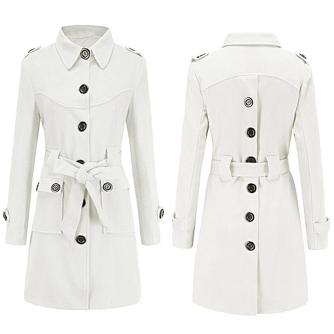 61c5b97ea2f9 Africanmall store Women Winter Warm Woolen Coat Trench Parka Jacket Belt  Overcoat Outwear -White ...