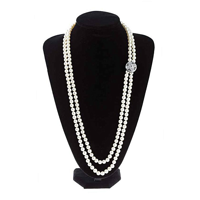 6af9350f79 FEDERICA Two-strand Pearl Necklace With Rhinestone Button @ Best ...