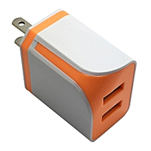 Dual USB Ports Home Wall Travel AC Power Charger Adapter For Samsung US OR-Orange