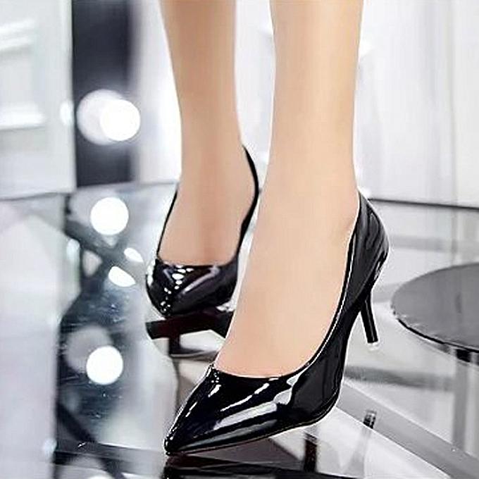 89623615e35 Olivaren Women Nude Shallow Mouth Fashion Elegant Ladies Office Work High  Heels Shoes -Black