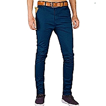 Soft Khaki Men's Trouser Stretch Slim Fit Official Casual- Navy Blue