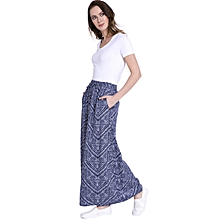 Navy Blue Printed Fashionable Skirt