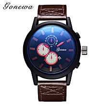 Olivaren GONEWA Men Quartz Analog Leather Strap 3ATM Date Sport Wristwatch GiftBrown