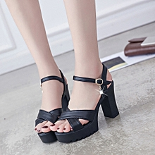 4017405e7a1 huskspo Women Fish Mouth Platform High Heels Wedge Sandals Buckle Slope  Sandals