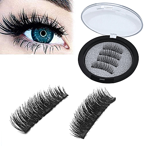 0c992076a1f Generic 4pcs/pair 3 Magnetic Eyelashes 3D False Eyelashes With 3 Magnets  Handmade Natural Long Hair Lashes Extension With Gift Box