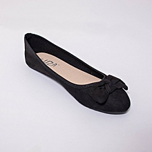 Black Round Captoe Suede Doll Shoes with Large Bow Tie Design