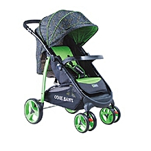 Deluxe Baby Stroller/Foldable Pram Portable Baby Stroller With Universal Casters - Green