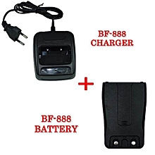 WALKIE TALKIE BAOFENG BF-888S BATTERY CHARGER + RECHARGEABLE BATTERY PACK 3.7V 1500mAh FOR BF-888 (BLACK)