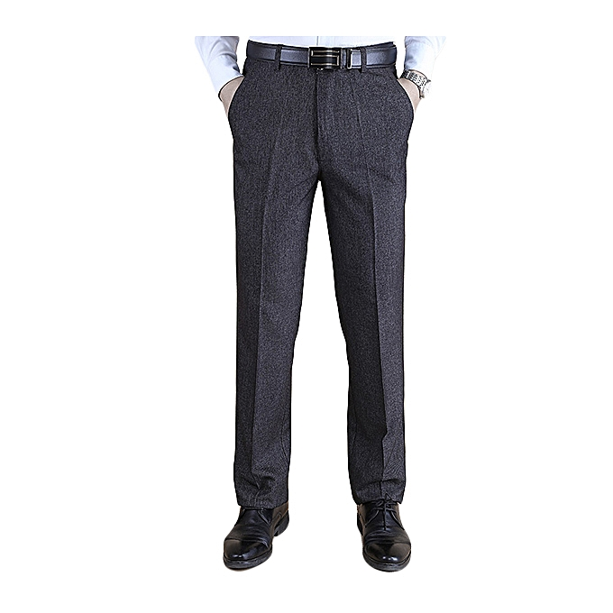 Fashion Autumn Winter Thick Straight Business High Waisted Trousers