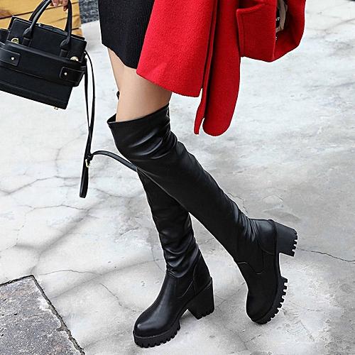 ead78b51cbf Generic TB Women Long Boots PU Leather Over Knee Chunky Heel Riding black