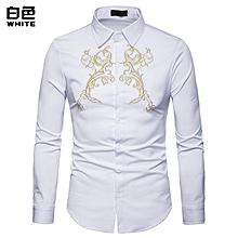 Men Shirt Autumn Men Long Sleeve Shirt Palace style Embroidery Fashion Shirt Casual Slim Fit Male Shirts - white