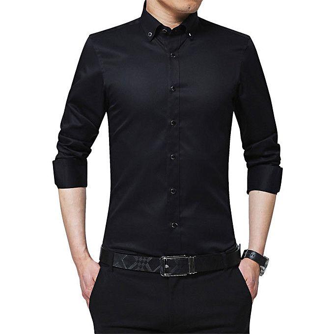 Deliva Shirts for Men - Black - Slim Fit Formal Dress Shirt Long ...