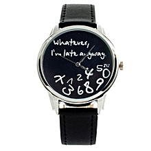 Henoesty New Fashion Funny Women Men Analog Quartz Whatever,I''m Late Anyway Wrist Watch