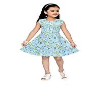 Blue cotton sleeveless dress