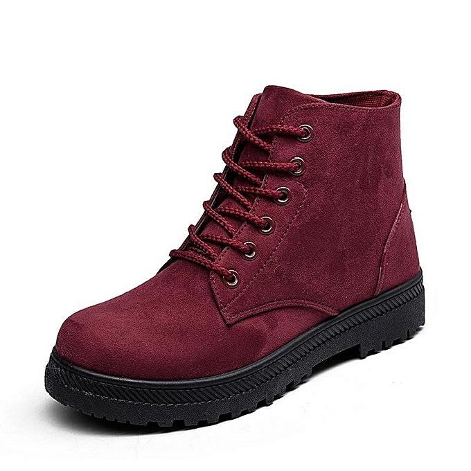 1e856d811cc9 ... Fashion Women Big Size Pure Color Suede Lace Up Ankle Casual Winter  Warm Boots