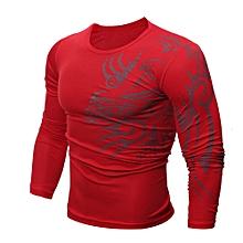 Men Fashion Printing Men's Long-sleeved T-shirt  RD/L- Red