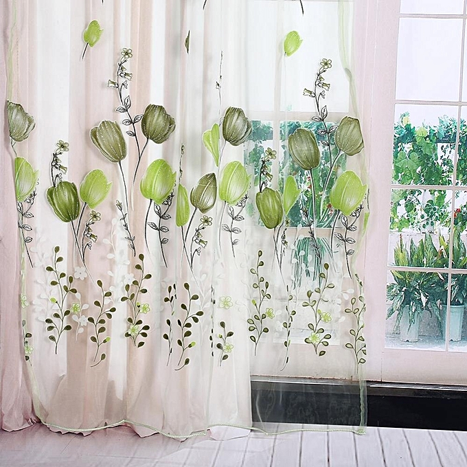 ... 100*200cm Tulips Printing Tulle Curtains Sheer Floral Balcony Drape Window Decoration- Green ...