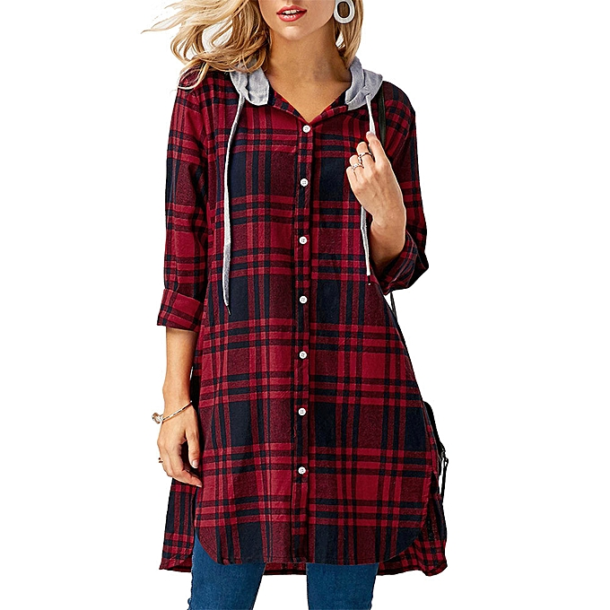 154622350 Check Fashion Womens Ladies Tops Long Sleeve Hooded Casual Plaid Lattice Shirt  Blouse