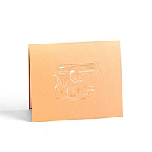 Greeting Cards 3D Pistol Pop Up Card With Envelope Merry Christmas Gold