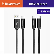 Tronsmart CPP8 PowerLink Braided Nylon USB A to C C to C Cable 1.8M (2 Pack) QTG-W
