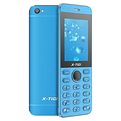 """Q7 Feature Phone- 2.4"""" Full Metal- Ultra Thin- Dual SIM- Blue"""