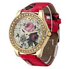Woman PU Leather Quicksand Rhinestone Quartz Watch Bracelet Watches Ladies Wristwatch- Red