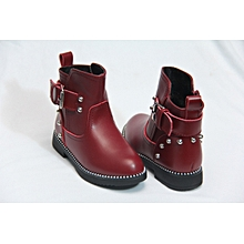 Girls casual Leather Ankle Boots With Buckle- Maroon