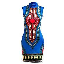 Xiuxingzi Women Sleeveless Fashion African Print Package Hip Cheongsam Tops Casual  Print