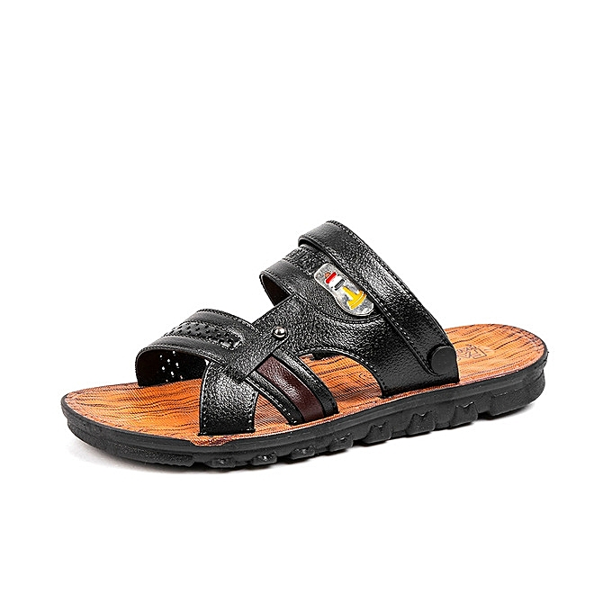 f945a15102a1c0 Generic New mens sandals summer outdoor beach slide sandals leather shoes  fashion soft bottom breathable casual male footwear for men-black