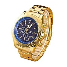 Men Stainless Steel Watch Analog Quartz Movement Wrist Watches Blue