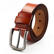 3.7 * 120cm Men Pin Buckle Simple All-match Leather Belt Commercial & Leisure Cowhide Waistband For Adults Color:B Brown