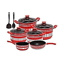 Non-stick Cookware (red) - 12 Pieces