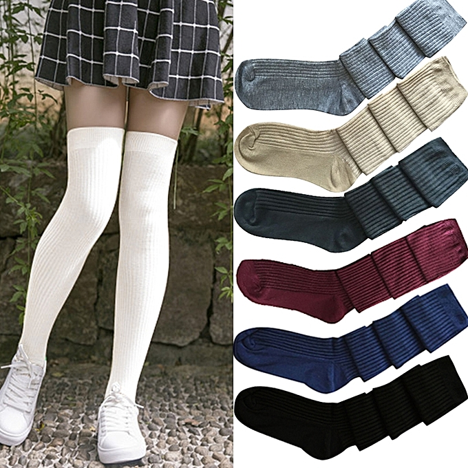 2b175d879 Women Stockings Cotton Blends Ribbed Thigh High Over The Knee Thick Warm  Long Casual Schoolgirl Wear ...