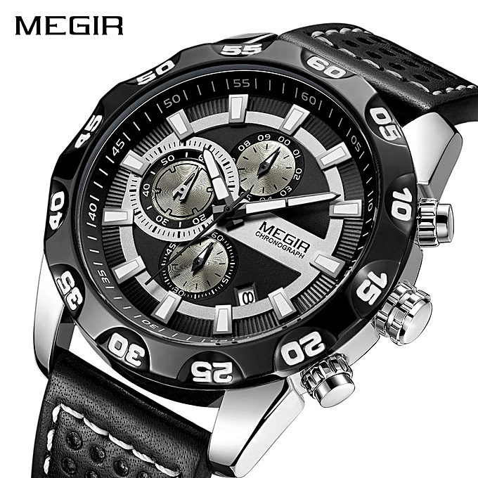 MEGIR Chronograph Sport Men Watch Leather Quartz Clock 2096 Jam Tangan Pria Black XBQ-A