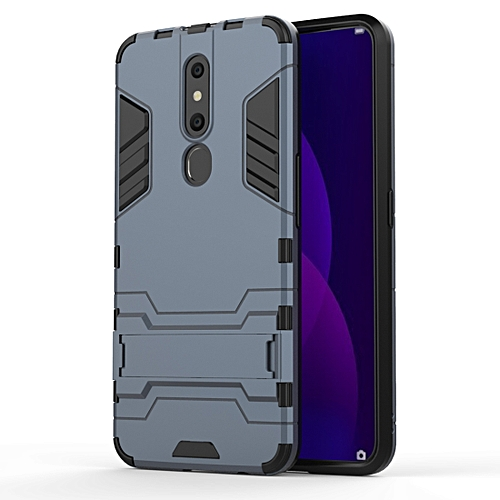 Shockproof PC + TPU Case for OPPO F11 Pro, with Holder(Navy Blue)