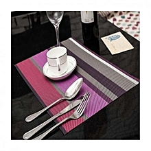Table Mat - 45cm x 32cm - 6Pcs - Stripped Purple