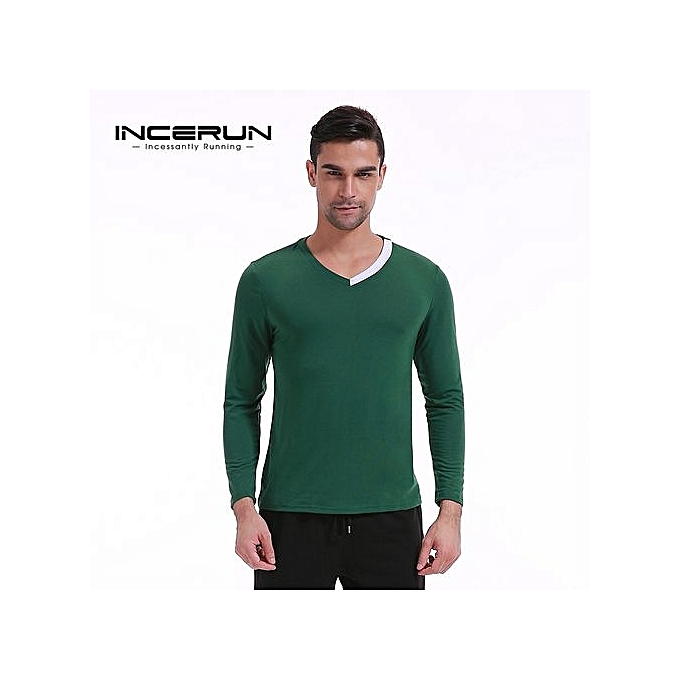 ad86c4bc Men's Casual Shirts Long Sleeve V-Neck Slim Fit Pullover Tops Tee T-Shirt