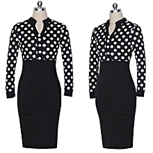 Womens Spring Autumn Polka Dot Elegant Formal Patchwork Long Sleeve Dress Office Charming Women Ruched Bodycon Shift Pencil Dress - Black