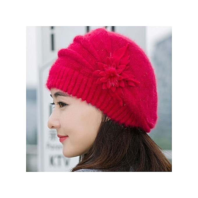 024d4656f10ea Fashion Womens Flower Knit Crochet Beanie Hat Winter Warm Cap Beret Red