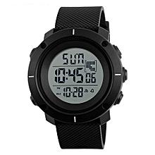 1213 Men Big Dial Sports Watches Multifunction WaterProof Alarm Date Digital Wristwatches - Black