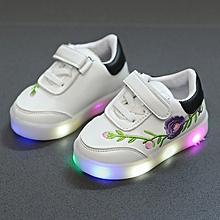 children flower led flashing light sneaker black