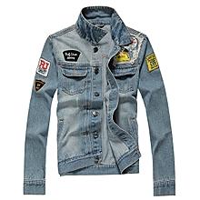 Ripped Stamp Embroidery Trendy Denim Jacket Slim Pop Jeans Coat for Men