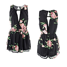 Women's Sexy Mini Playsuit Ladies Jumpsuit Summer Shorts Chiffon Hollow Out Beach Shorts Rompers