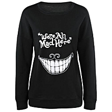 Teeth Print Funny Sweatshirt - Black