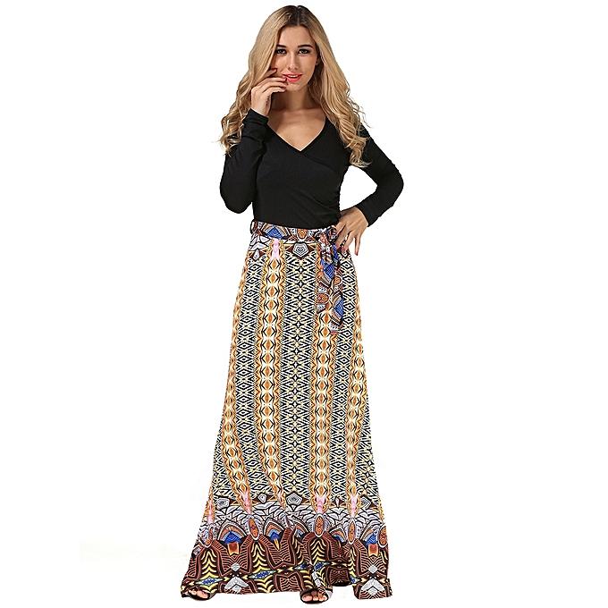 4f863fc7a5 Fashion Sexy Women Long Sleeve V-Neck Printed Patchwork Maxi Dress ...
