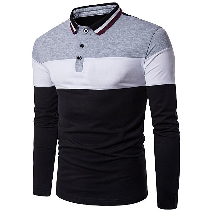Latest T Shirt Designs | Fashion Color Block Rib Turndown Collar Panel Design T Shirt Gray