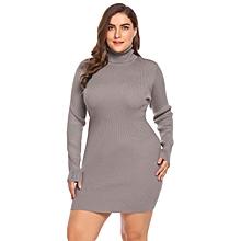Women's Turtleneck Long Sleeve Solid Bodycon Pullover Sweater Dress Plus Size ( Khaki )