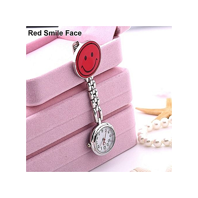 Women s Butterfly Smile Face Quartz Clip-On Brooch Nurse Hanging Pocket  Watch-Red Smile f733fa8189