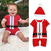 Children's Suit Boys Christmas Piece Suit Jumpers + Christmas Hat 2 Sets Of Children's Clothing -red